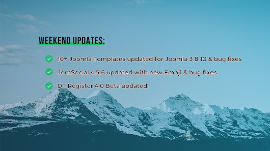 Weekend Updates: 10+ Joomla templates, JomSocial 4.5.6 and DT Register 4.0 beta updated | Joomla Templates and Extensions Provider