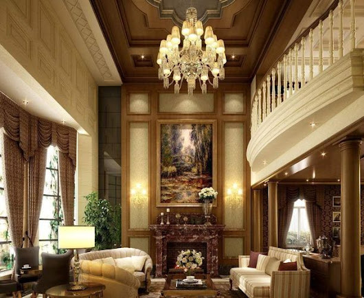 Luxury Hall Interior with Fireplace free 3D Model .max