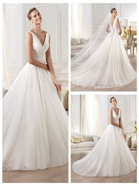 Gorgeous V neck And V back Draped Ball Gown Wedding