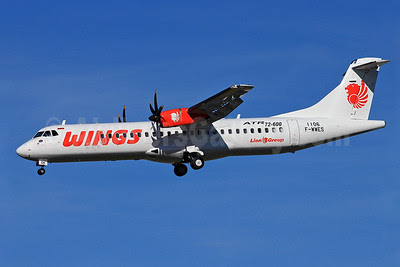 Wings Air (Indonesia)-Lion Group ATR 72-212A (ATR 72-600) F-WWES (PK-WGK) (msn 1106) (Lion Air logo) TLS (Eurospot). Image: 913628.
