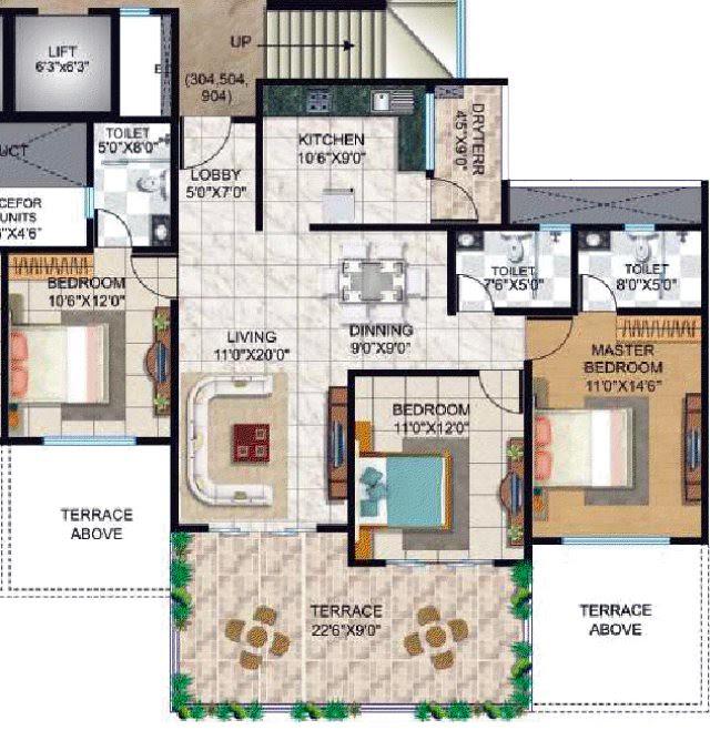 Tuscan Estate Kharadi Pune - B1, B2, B3 Buildings - Flat No 304, 504, 904 - 1017 Carpet + 218 Terrace