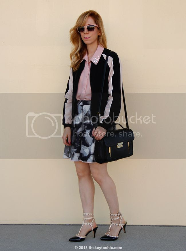 LA fashion blogger The Key To Chic wears a Mossimo colorblock bomber jacket and Mossimo printed scuba skirt with Rockstud ankle strap kitten heels and a Phillip Lim for Target black top handle satchel