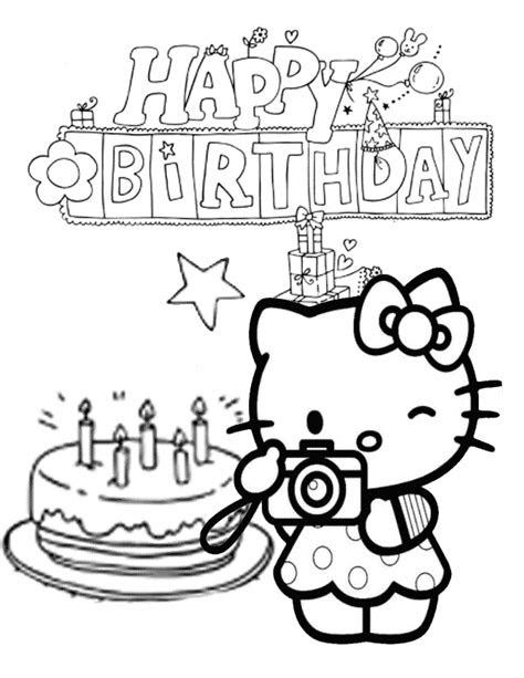 Happy Birthday Hello Kitty Coloring Page | Coloring Page Blog
