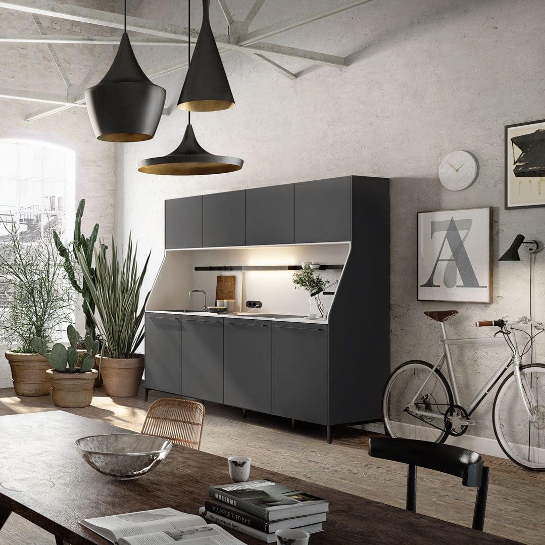 современная кухня деревянный компактная с ручками Urban 29
