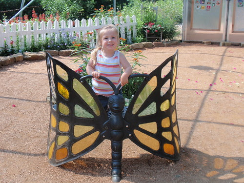 My cheesy girl on the Butterfly Bench