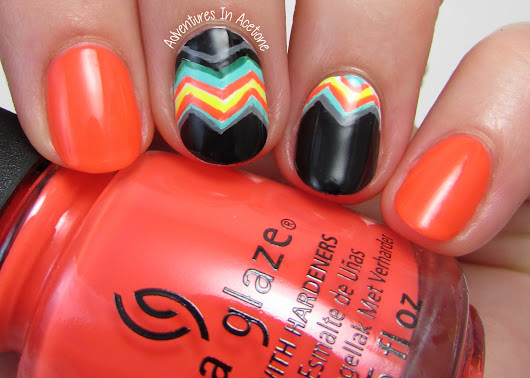 Bright, Funky Chevron Nail Art! - Adventures In Acetone