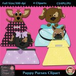 Puppy Purses Clipart - CU