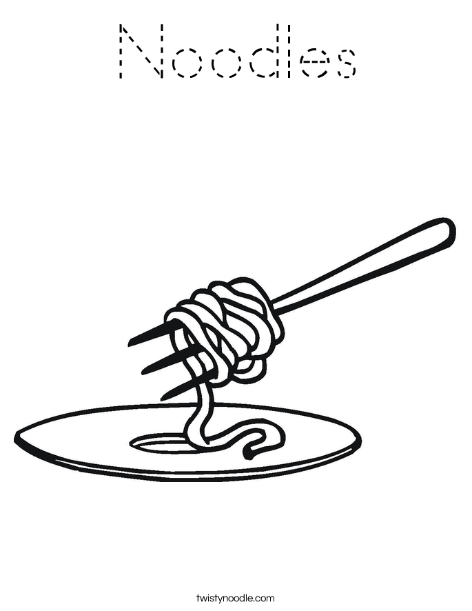 Noodles Coloring Page - Tracing - Twisty Noodle
