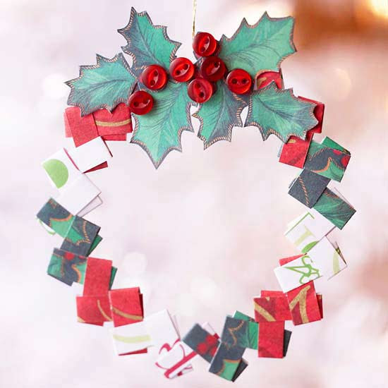 Folded Paper Wreath Ornament