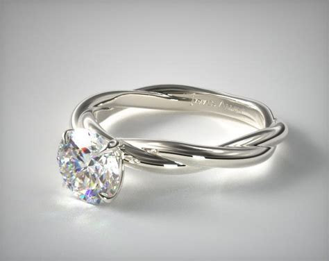 Rope Solitaire Engagement Ring   14K White Gold   James