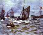 Claude Monet.  A entrada para o Porto de Honfleur.