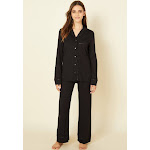 Cosabella Bella Petite Long Sleeve Top & Pant Pajamas - Womens - Black - Petite Large