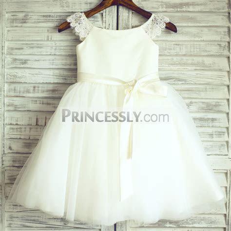 Ivory Lace Cap Sleeves Tulle Wedding Flower Girl Dress