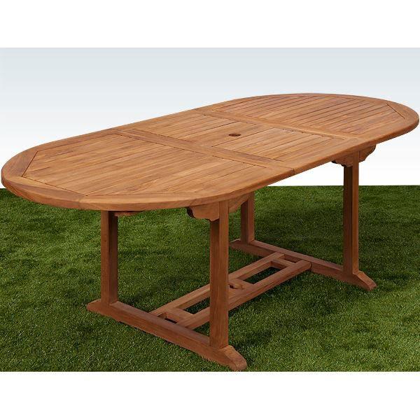 Table et chaises de terrasse: Table jardin eucalyptus