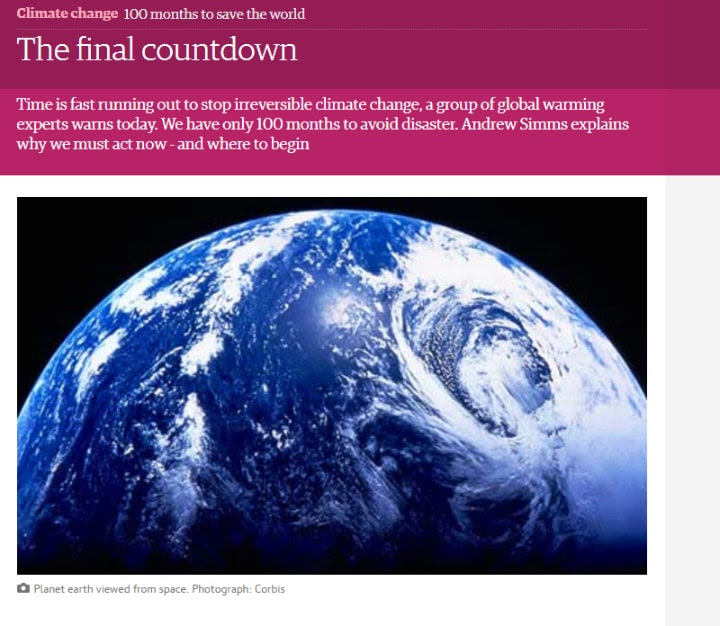 "The Guardian's online article with the headline ""THE FINAL COUNTDOWN"" and a caption ""100 months to save the world"" above a vast picture of the Earth viewed from space"