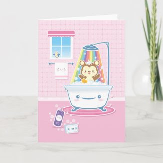 Bathtime Bear Greeting Card card