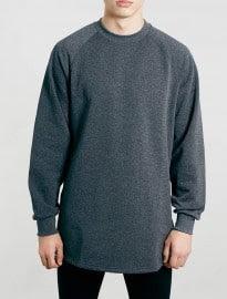 Topman Charcoal Zip Hem Long Line Oversized Sweatshirt