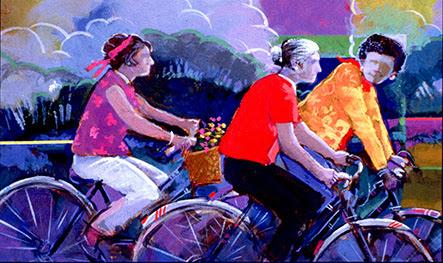 Illustration of three seniors riding bicycles