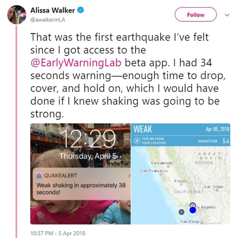 Κάτοικος του Λος Άντζελες έγραψε στο Twitter της πως με τη βοήθεια της εφαρμογής κατάφερε να προστατευτεί γρήγορα από τον σεισμό των 5,7R