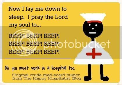 Now I lay me down to sleep.  I pray the Lord my soul to beep nurse ecard prayer humor photo.