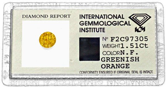 Foto 1, NATURAL FANCY GREENISH ORANGE DIAMANT 1,51 BRILLANT IGI, D6188