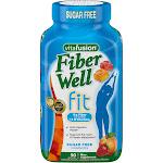 VitaFusion Fiber Well Fit Fiber Supplement, Sugar Free Gummies, Peach, Strawberry, Berry - 90 gummies