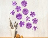 Flower Wall Decor Purple Blossoms, Pop-up Set of 12, Wall Art - Made in Canada - StudioLiscious