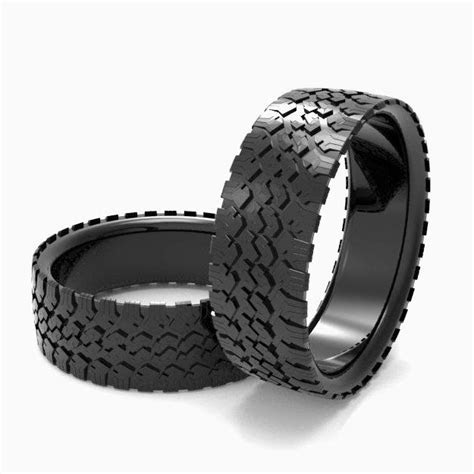 Buy a Hand Made Mens' Tire Wedding Band Black Silver Tire