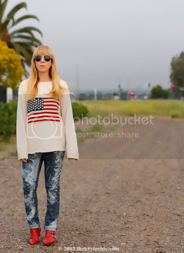 American flag sweater, bleached jeans, Jeffrey Campbell Starburst studded boots, Los Angeles fashion blogger, southern California style