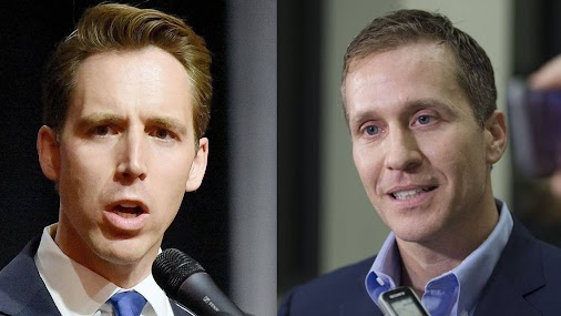 """Punk thug lowlife """"Governor"""" Eric Greitens demands the court file a restraining order against AG Josh..."""