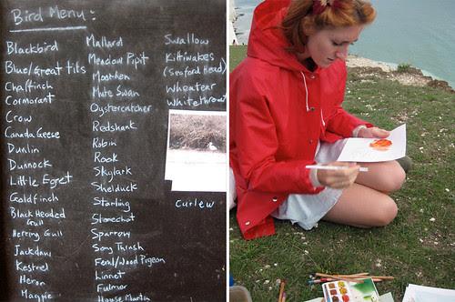 bird menu & watercolour challenge