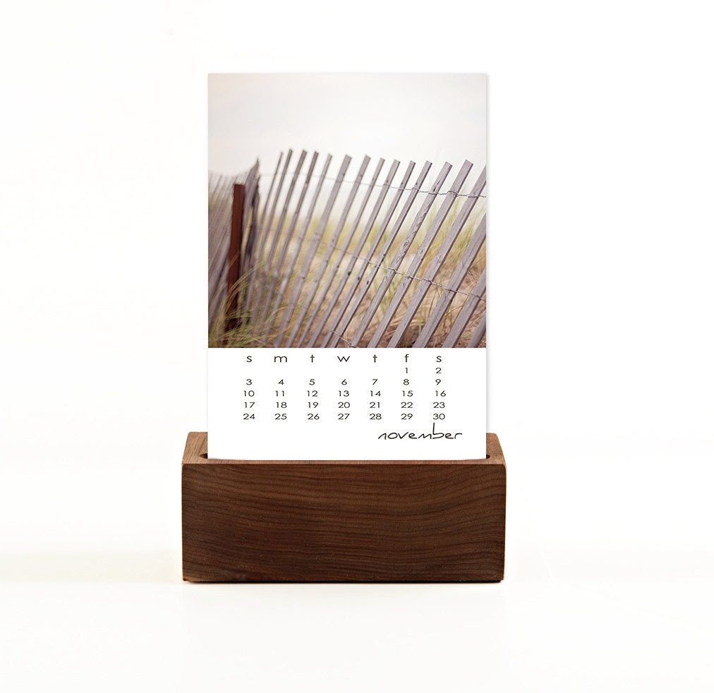 ready to ship 2013 desk calendar with walnut base / 2013 calendar, stand, original fine art photography / dark wood wooden stand - shannonpix