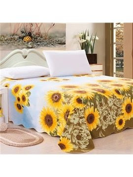 Vivid Superb Sunflower Print Full Cotton Sheet