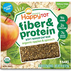 Happy Tot Organics Fiber & Protein Soft-Baked Oat Bars, Organic Apples & Spinach - 5 count, 0.88 oz each