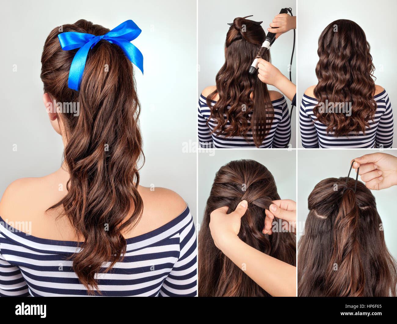Einfache Frisur Pferdeschwanz Auf Lockiges Haar Tutorial Frisur Für
