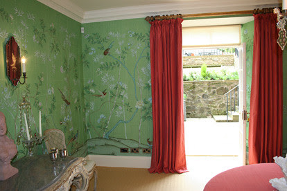 de gournay green with pink velvet curtains