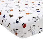 Snoopy Sports White/Blue/Red Baby Fitted Crib Sheet - Bedtime Originals