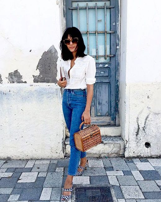 Le Fashion Blog Lace Blouse Vintage Denim Gingham Heeled Sandals Via @Maria_Bernad
