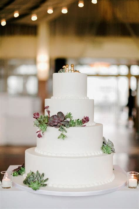 Classic White Wedding Cake With Succulents   Carlo's