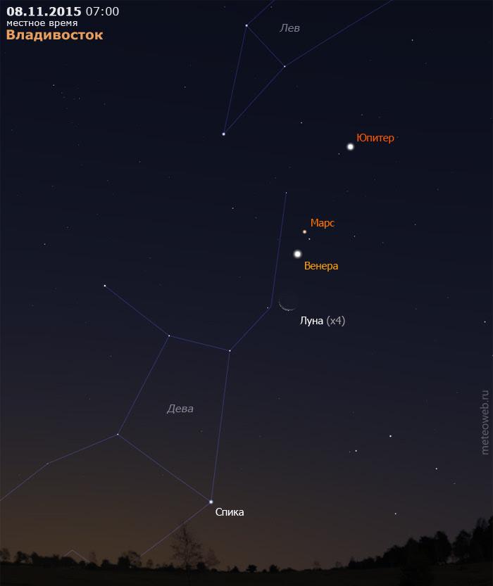 Убывающая Луна на утреннем небе Владивостока 8 ноября 2015 г.