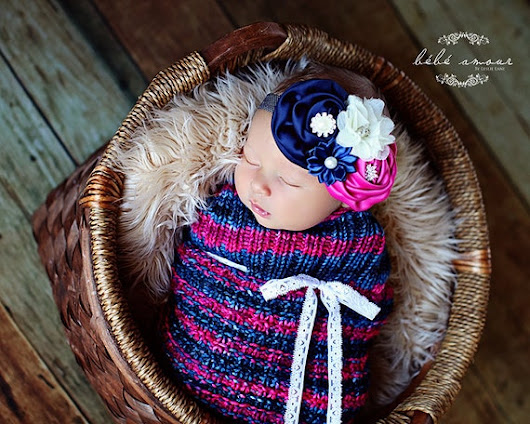 Navy and Pink Thermal Knit Newborn Baby by LeosLovelyTreasures