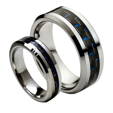 His& Hers 8MM/6MM Tungsten Carbide Blue/Black Carbon Fiber