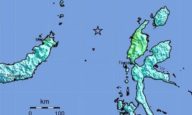 Area of the undersea earthquake near Kota Ternate, in the northern Molucca Sea, Indonesia, that  triggered a tsunami warning.