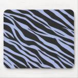 Sky Blue Zebra Striped Mouse Pad