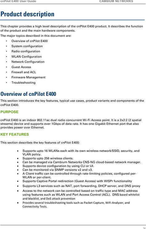 89FT0018 cnPilot Indoor E400 User Manual Cambium Networks