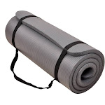 BalanceFrom GoCloud All-Purpose 1-Inch Extra Thick High Density Anti-Tear Exercise Yoga Mat with Carrying Strap, Gray