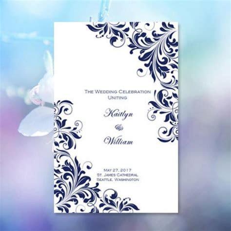 "Catholic Church Wedding Program ""Kaitlyn"" Navy Blue 8.5 X"