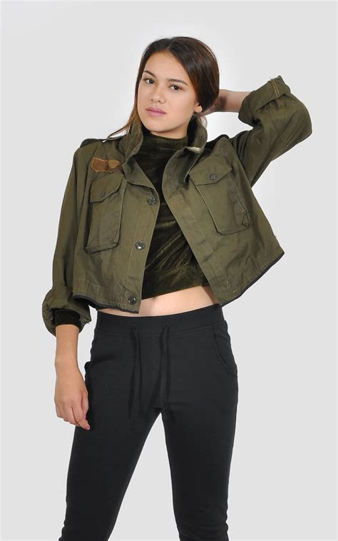 cropped khaki military jacket silkfred