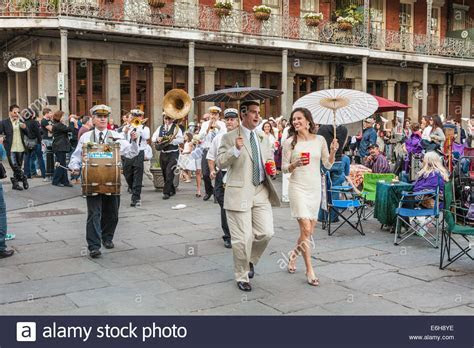 Wedding march with jazz band on Jackson Square in the