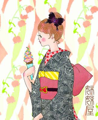 イラストとお着物見比べ黒地に蝶が舞飛ぶ夏着物にミニーちゃん単帯を